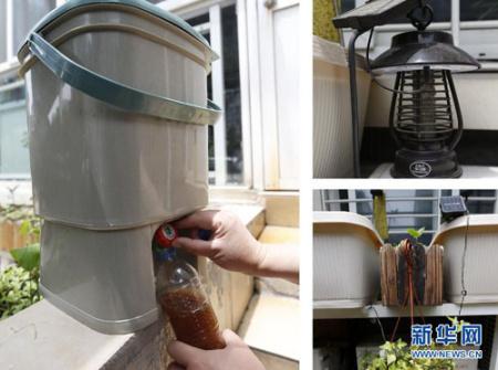 左边为自制发酵桶,利用家里的厨余垃圾配合发酵粉
