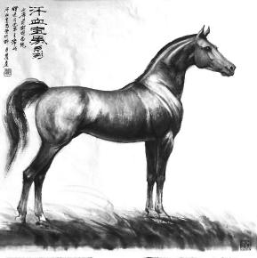 壁纸 动物 国画 马 骑马 289_290