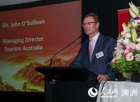 澳大利亚旅游局董事总经理约翰・奥沙利文在发布会上致辞(摄影 贺吉)