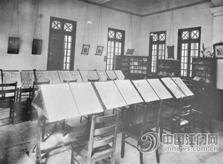 景堂图书馆报纸杂志室(摄于1933年).