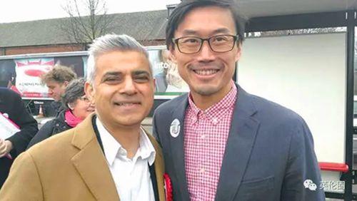 卢永信与伦敦市长萨迪克·汗合影。(《欧洲时报》英国版微信公众号图片来源:受访者供图)
