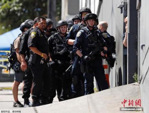 资料图为美国旧金山的一处物流中心发生枪击案。