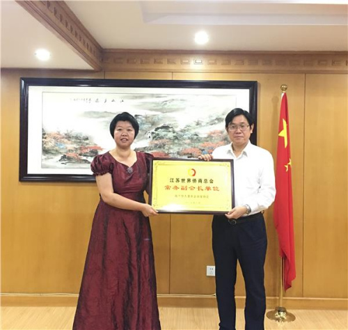 王华主任为荷兰华人青年企业家协会授予江苏世界侨商总会常务副会长单位牌匾