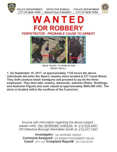 警方公布华埠坚尼路珠宝店抢劫嫌犯照片。(美国《世界日报》/警方提供)