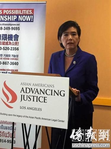 9月16日中午,国会议员赵美心在东洛杉矶学院就入籍的重要性开现场讲座。(美国《侨报》/章宁 摄)