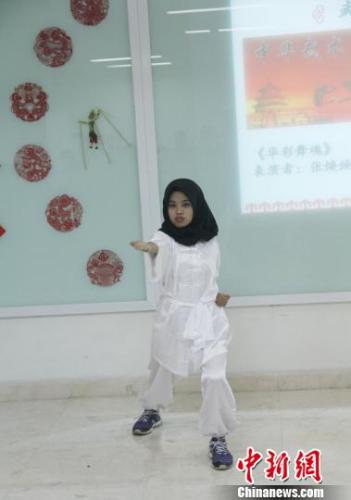 图为印尼学生表演中华武术。 林永传 摄