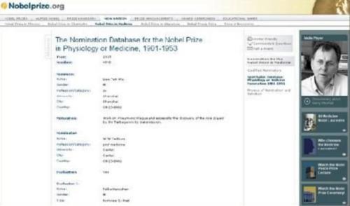 诺贝尔基金会官方网站关于伍连德的相关信息