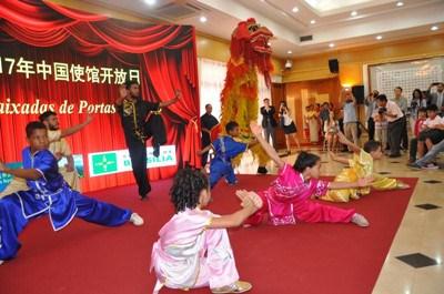 巴西小学生表演中国功夫。