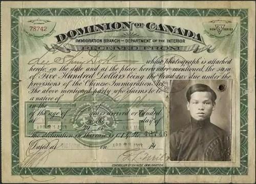 """华人缴纳完""""人头税""""后获得的移民证。"""