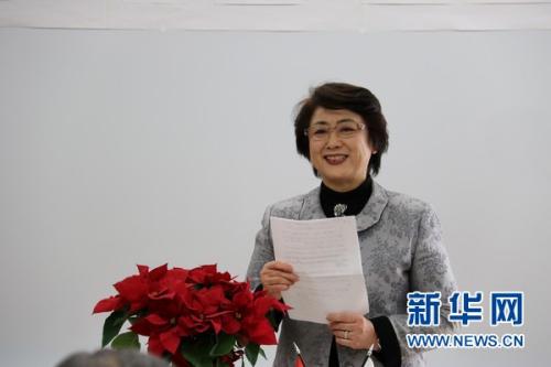 本次演讲比赛的主办方NPO法人东方文化交流协会理事长高山英子致辞。新华网发 彭纯摄