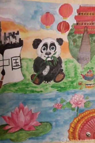 一等奖作品《中国》.-俄罗斯孔子课堂 我眼中的中国梦 主题画展举行