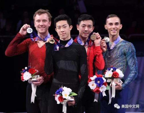 陈巍(左二)夺得2018年美国冠军 (图来源:美国中文网)