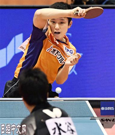 张本打破了水谷第10次夺冠的梦想。(日经中文网)