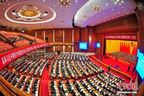 1月23日,中国人民政治协商会议天津市第十四届委员会第一次会议在天津大礼堂开幕。 中新社记者 佟郁 摄
