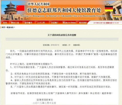 图片来源:中国驻德意志联邦共和国大使馆教育处网站截图。