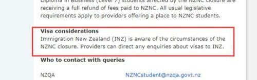 在给学生的公开信中,新西兰学历认证局表示移民局已经被告知该校学生签证情况(新西兰天维网)