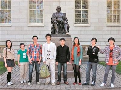 季弘斐(左三)在哈佛大学。