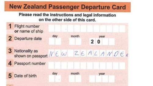 新西兰各国际机场使用的离境卡 资料图片