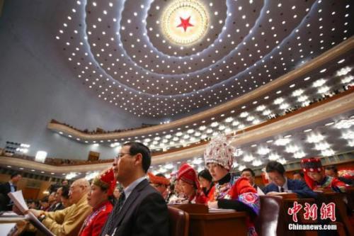 3月5日,十三届全国人大一次会议在北京人民大会堂开幕。 中新社记者 刘震 摄
