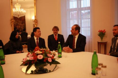 杨兴平与捷克总统外事顾问、前副总理兼外长外长科胡特座谈交流