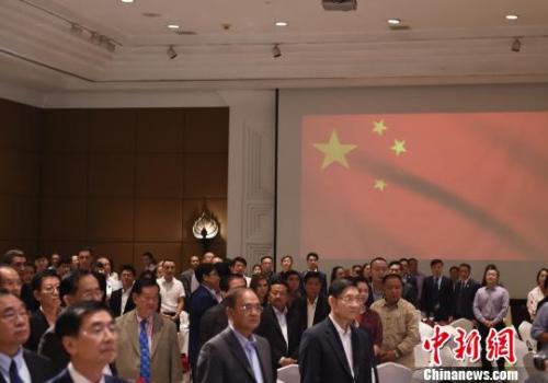 柬埔寨中国港澳侨商总会20周年暨第九届理事就职现场。 黄耀辉 摄