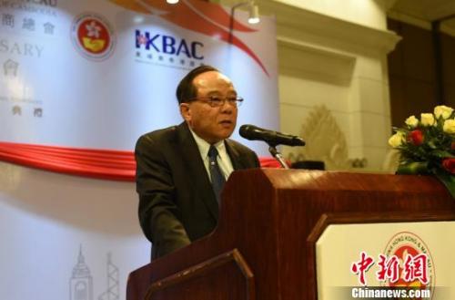 柬埔寨中国港澳侨商总会会长任瑞生勋爵在致辞。 黄耀辉 摄