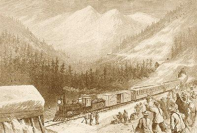 穿越塞拉山的铁路开通,华裔铁路工人向一辆驶过的火车挥手致意。(美国《世界日报》取材自斯坦福大学网站)
