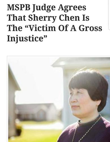 美国媒体报道称,美国绩效系统保护委员会法官认为,陈霞芬是严重不公正的受害者。