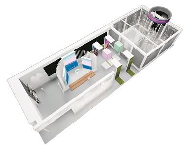 福田主展区将融入空气成像、纱幕投影、手势互动等新科技展示文化亮点,图为福田主展区设计效果图。