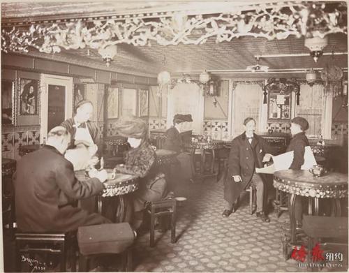 万里云酒楼招待美国主流社会顾客,1904年。(美国《侨报》/纽约市博物馆图)
