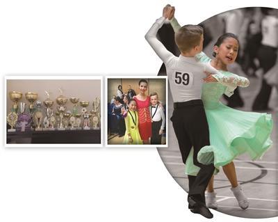 左图:隋渊静家里摆满了各种比赛的奖杯。中图:两个孩子和老师劳拉在一起。右图:隋渊静和舞伴在比赛中。(图片来源:《扬子晚报》)