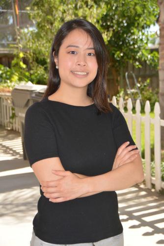东谷市华裔尤煜琳宣布参选市议员。(美国《世界日报》/启铬 摄)