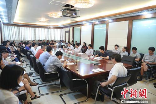 中国新闻社8月6日在北京召开2018年年中工作会,中央统战部副部长谭天星出席会议并讲话。盛佳鹏 摄