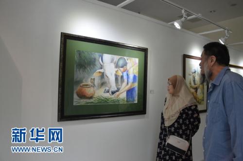 当地艺术爱好者欣赏参展作品。新华网发(王大玮 摄)