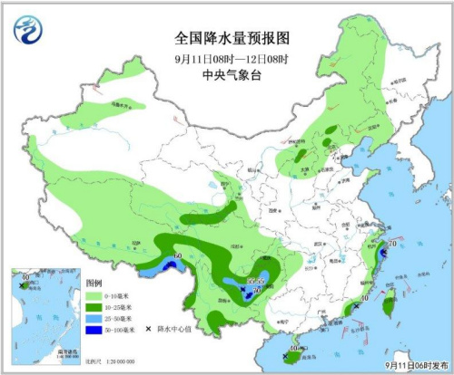 图1 全国降水量预报图(9月11日08时-12日08时)