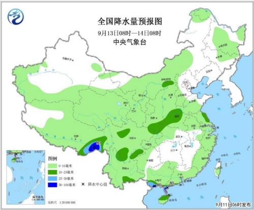图3 全国降水量预报图(9月13日08时-14日08时)