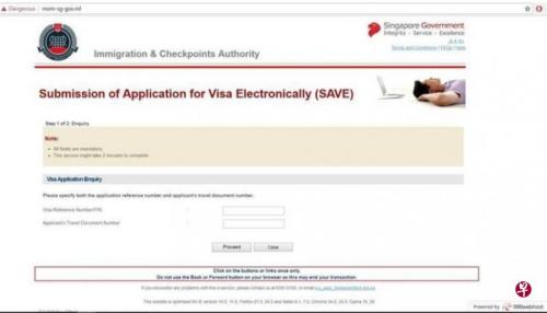 假网站与移民与关卡局的签证申请页面完全相同。(来源:《联合早报》新加坡移民与关卡局提供)