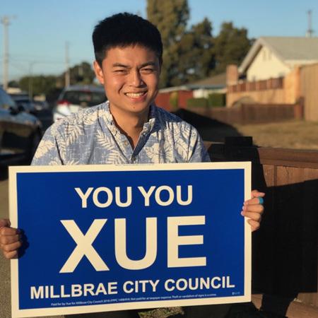 年仅21岁的薛大有,将于11月竞选密尔布瑞市议员。(美国《世界日报》/李秀兰 摄)