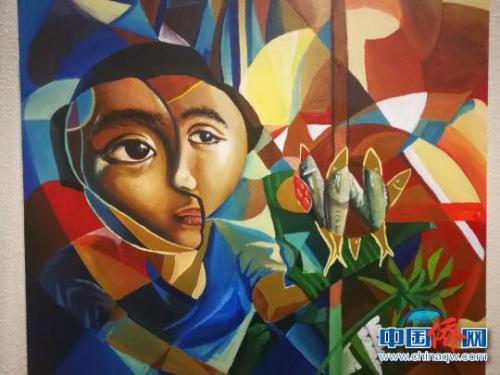 画家以印象派手法展示菲律宾生活。 关向东 摄