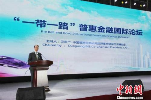 图为中国普惠金融研究院理事会联席主席兼院长贝多广发言。 史静静 摄