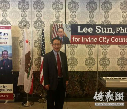 尔湾市议员候选人孙立清(Lee Sun)。(美国《侨报》/尚颖 摄)