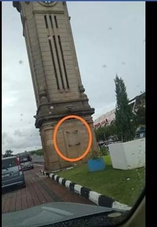 具有历史价值的大钟楼铜匾被偷。(马来西亚《星洲日报》)