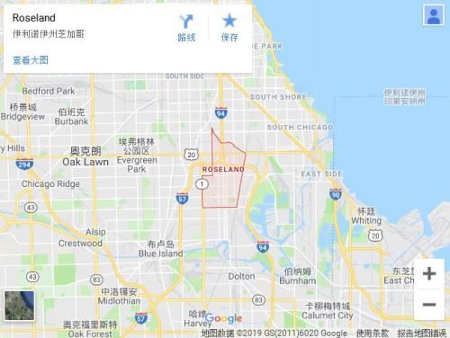 上图红色框之处,即为史教授前往寻车的罗斯兰德区(Roseland),治安非常差。(谷歌地图截图)