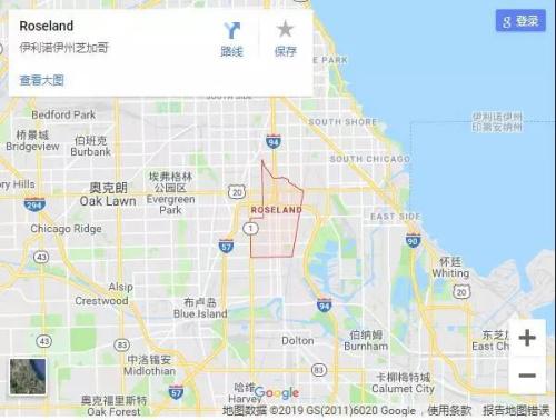 史教授前往寻车的罗斯兰德区(Roseland),治安非常差。谷歌地图截图