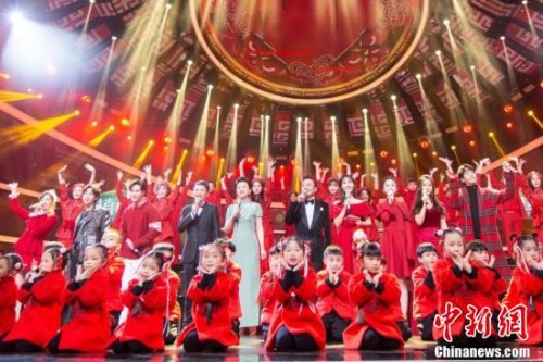 """""""四海同春""""2019全球华侨华人春节大联欢录制现场。"""