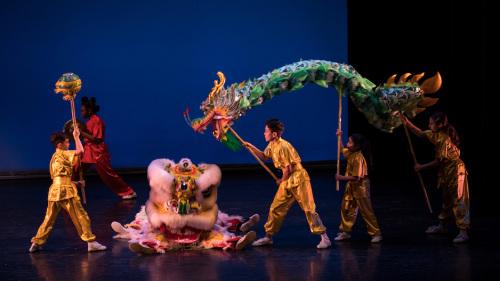 当地民间艺术团表演狮龙共舞