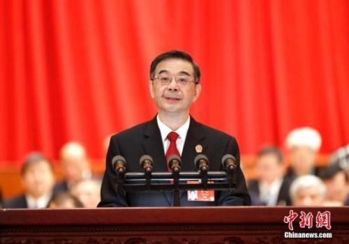 3月12日,十三届全国人大二次会议在北京人民大会堂举行第三次全体会议。最高人民法院院长周强作最高人民法院工作报告。<a target='_blank' href='http://www.chinanews.com/'>中新社</a>记者 刘震 摄