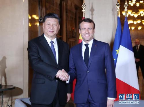 3月24日,国家主席习近平在尼斯会见法国总统马克龙。 新华社记者 鞠鹏 摄 图片来源:新华网
