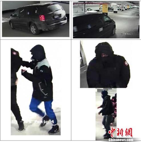警方公布的现场监控视频显示的嫌犯及作案所用车辆画面。 余瑞冬 摄