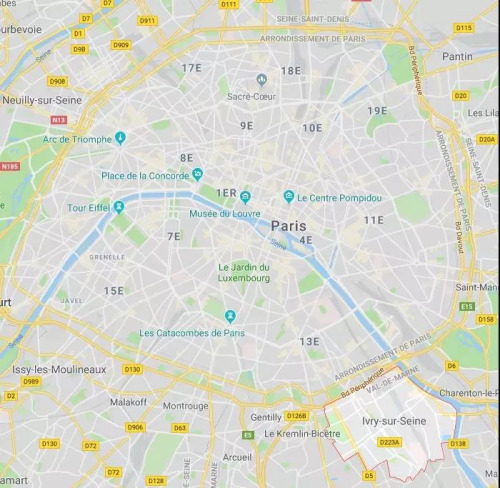 被抢中国游客入住酒店位于塞纳河畔伊夫里Ivry-sur-Seine(图片右下),是法国法兰西岛大区马恩河谷省的一个市镇,位于巴黎大区东南部,靠近华人区13区。